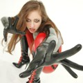 Princess Fatale in pvc catsuit, latex gloves & boots