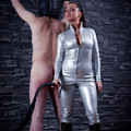 Masked slave gets his sensitivity levels tested by a Mistress clad in pvc