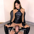 Slave pleasures his Mistress while strapped in to the stool