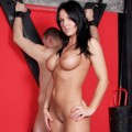 Busty naked Victoria whips her tied slave