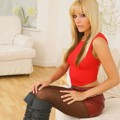 Blonde removes her tight red top and tight leather skirt