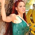 Bianca Beauchamp in green bathing-suit